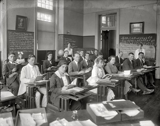 Black and White Photo of College Classroom