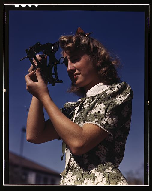 Old Color Photo of Female Student